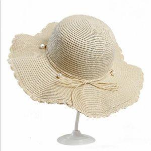 Pearl bow knot straw beach sun hat/NIB